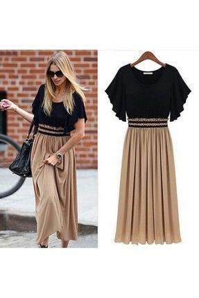 JANES Kadın Kumaş Altı Şifon Beli Lastikli Elbise 0