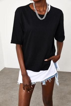 Xena Kadın Siyah Yakası & Eteği Garnili Salaş T-Shirt 1KZK1-11558-02 4