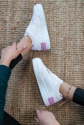 Bartrobel Kadın Beyaz Lila Sneaker Günlük Ayakkabı 4