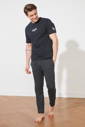 TRENDYOL MAN Lacivert Sloganlı Örme Pijama Takımı THMAW21PT0393 1