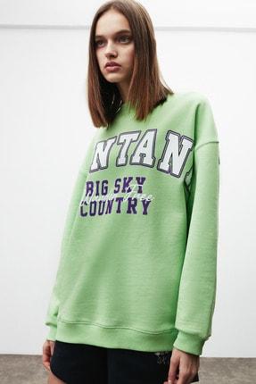 GRIMELANGE RAMONA Kadın Yeşil Önü Baskılı Sweatshirt 1