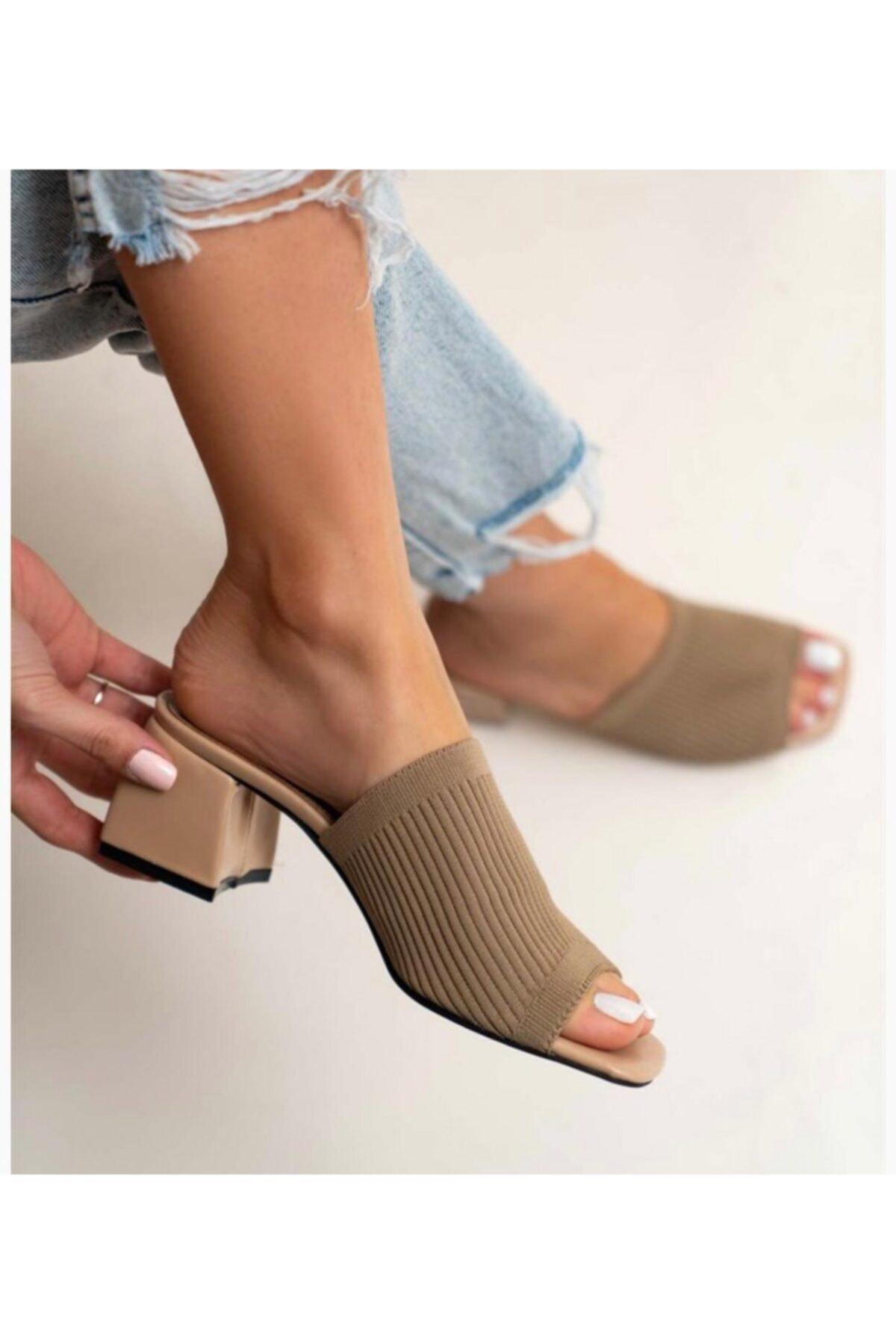 Kadın Vizon Topuklu Triko Terlik
