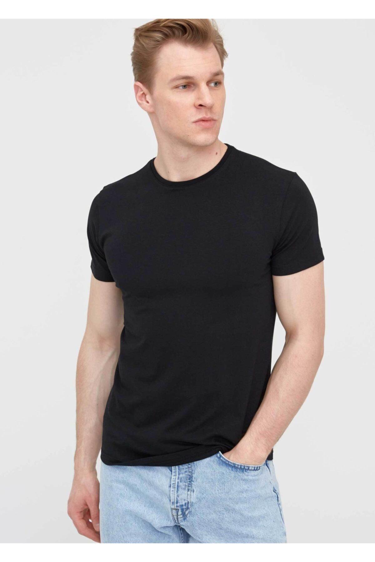 Erkek Basic Pamuklu Kısa Kollu Bisiklet Yaka T-Shirt