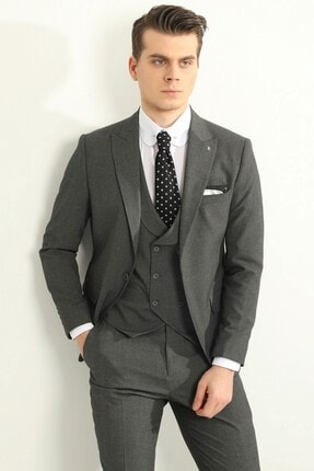 تصویر از Antrasit Yelekli Erkek Takım Elbise - Slım Fıt