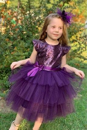 Pumpido Mürdüm Renk Pul Payetli Kız Çocuk Elbisesi 3