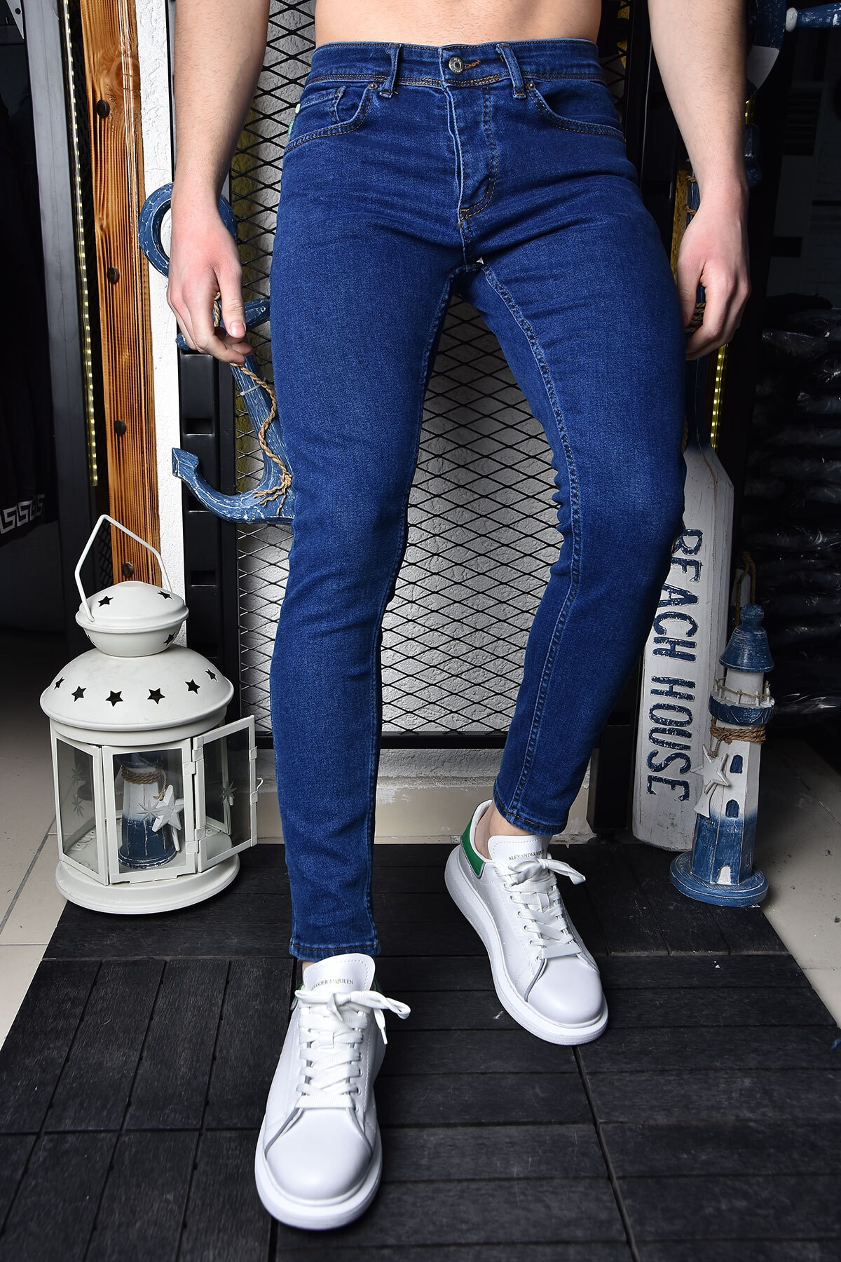 Erkek Lacivert Skinny Fit Bilek Boy Pantolon