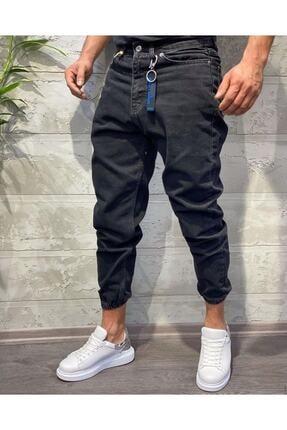 Oliggopol Erkek Siyah Paçası Lastikli Likrasız Boyfriend Kot Pantolon 0