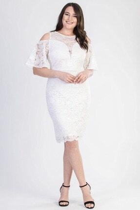 Picture of Kadın Ekru Volan Kollu Astarlı Büyük Beden Dantel Abiye Elbise