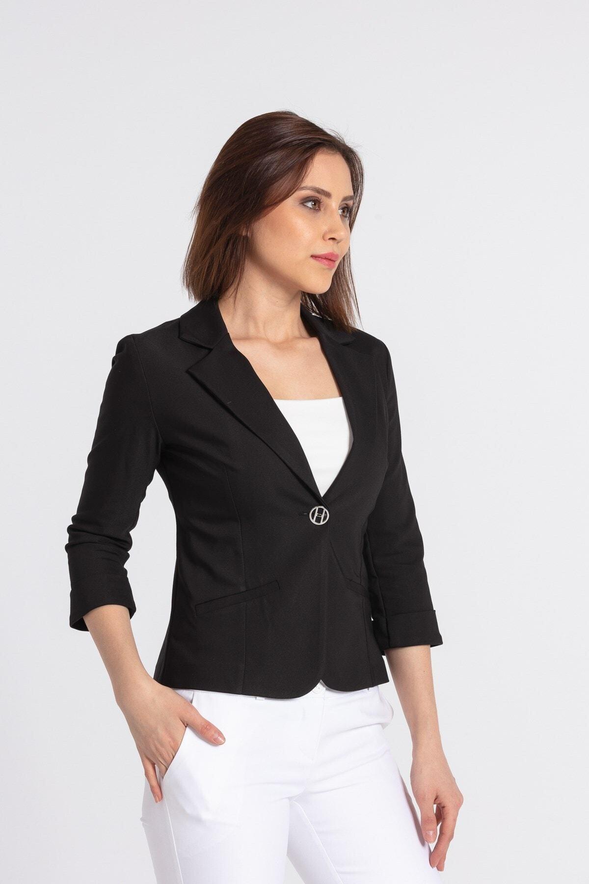 Süs Cepli Kapri Kol Düğmeli Blazer Mono Kısa Ceket-siyah
