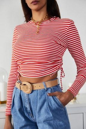 Xena Kadın Kırmızı Büzgülü Çizgili Bluz 1KZK2-11220-04 0