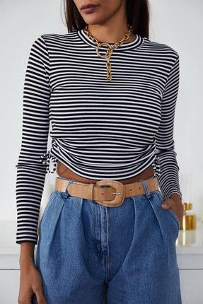 Xena Kadın Beyaz Büzgülü Çizgili Bluz 1KZK2-11220-01 4