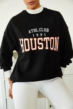 Xena Kadın Siyah Baskılı Polarlı Sweatshirt 1KZK8-11232-02 4