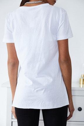 Xena Kadın Beyaz Basic Bisiklet Yaka Yırtmaçlı T-Shirt 1KZK1-11202-01 3