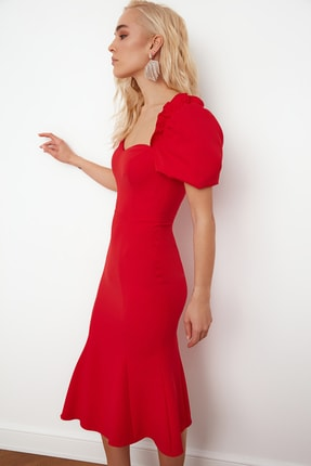 TRENDYOLMİLLA Kırmızı Yaka Detaylı Elbise TPRSS21EL0053 3