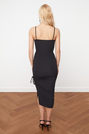 TRENDYOLMİLLA Siyah Yırtmaç Detaylı Drapeli Elbise TPRSS21EL0213 3
