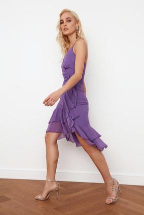 TRENDYOLMİLLA Mor Kruvaze Yaka Volanlı Şifon Elbise TPRSS21EL0143 3