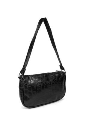 Güce Kadın Siyah Kroko Desenli Ayarlanabilir Askılı Baget Baguette El Ve Omuz Çantası Gc011700kf 2