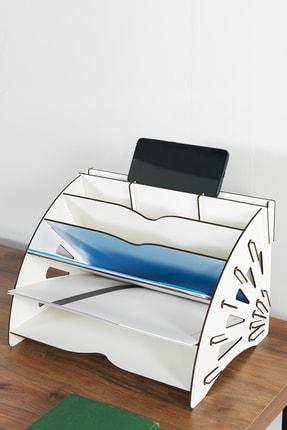 KUK Design Beyaz Delcia Modern Pratik Ofis Masaüstü Organizer Düzenleyici A4 Evrak Rafı 2
