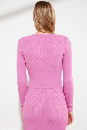 TRENDYOLMİLLA Pembe Düğme Detaylı Hırka Elbise Triko Takım TWOSS21EL0208 2