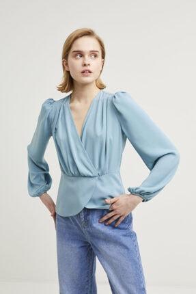 adL Kadın Mint Kruvaze Bluz 1