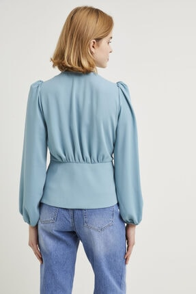 adL Kadın Mint Kruvaze Bluz 3
