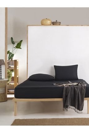 Enlora Home %100 Doğal Pamuk DüzRenk Lastikli Çarşaf+Yastık Seti Çift Kişilik FreshColor Siyah 1