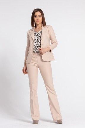 Jument Kadın Bej Yakalı Cep Detaylı Blazer Ceket 0