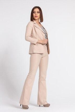 Jument Kadın Bej Yakalı Cep Detaylı Blazer Ceket 1