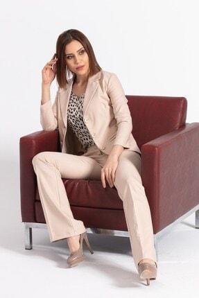 Jument Kadın Bej Yakalı Cep Detaylı Blazer Ceket 2