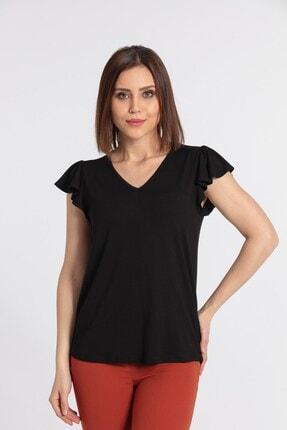 Jument Kadın V Yaka Kolları Volanlı Bluz-siyah 0