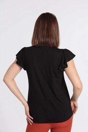 Jument Kadın V Yaka Kolları Volanlı Bluz-siyah 3