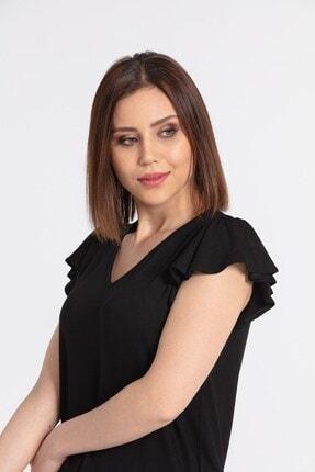 Jument Kadın V Yaka Kolları Volanlı Bluz-siyah 4