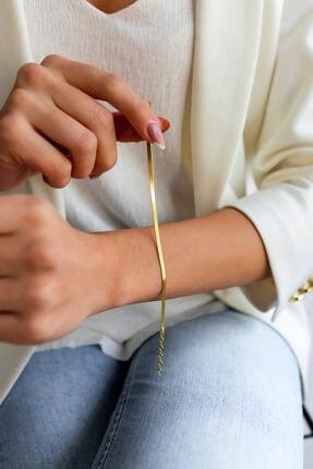 SVİESA GÜMÜŞ Italyan Bileklik Kadın Yassı Model Altın Kaplama 0