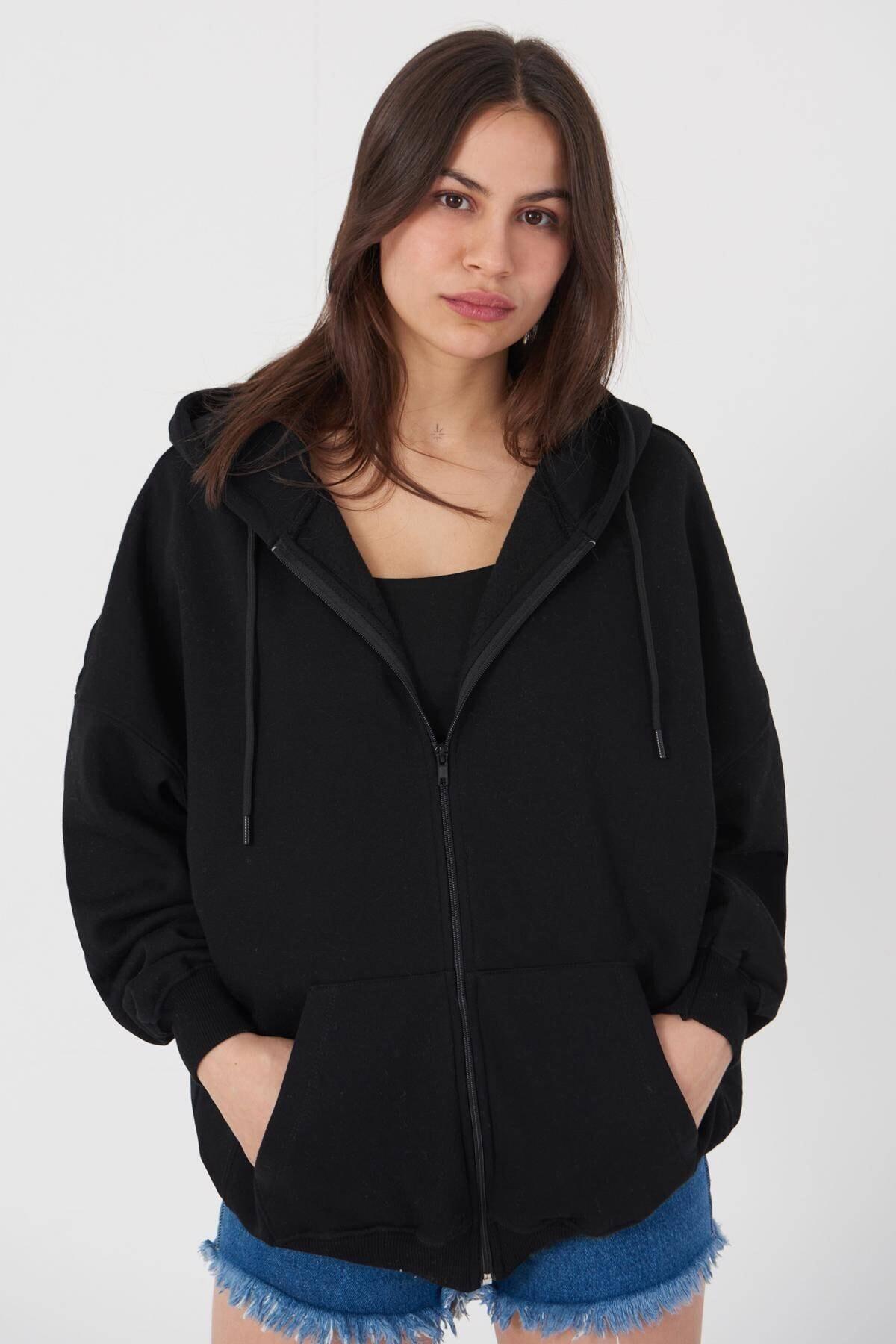 Addax Kadın Siyah Kapüşonlu Uzun Hırka H0725 - W6 - W7 ADX-0000020316 0