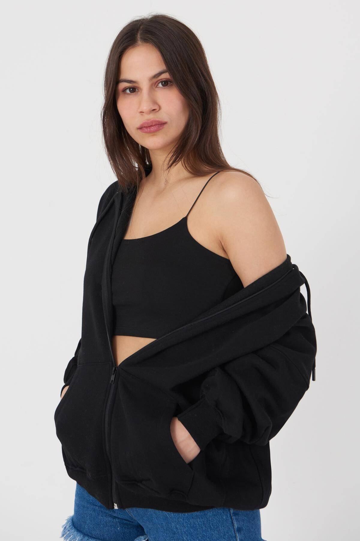 Addax Kadın Siyah Kapüşonlu Uzun Hırka H0725 - W6 - W7 ADX-0000020316 2