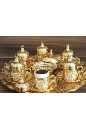 YamanlarPlastik Kahve Fincan Seti. 6 Kişilik Otantik Desenli Tepsili Fincan Takımı. Gold 27 Parça 2