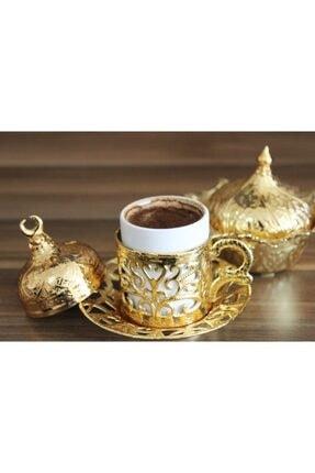 YamanlarPlastik Kahve Fincan Seti. 6 Kişilik Otantik Desenli Tepsili Fincan Takımı. Gold 27 Parça 3