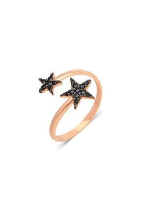 İzla Design Çift Yıldız Model Siyah Zirkon Taşlı Rose Kaplama Gümüş Yüzük 4