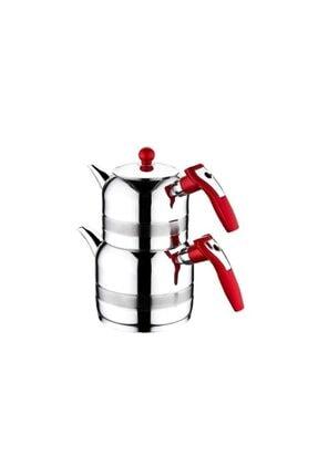 Kahramanlar Çelik Yağmur Midi Boy Çelik Çaydanlık Kırmızı 0