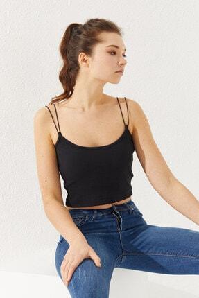 Reyon Kadın Ip Askılı Bluz Siyah 2