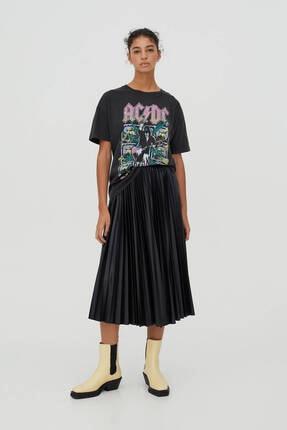 Pull & Bear Kadın Siyah Pamuklu  T-Shirt 1