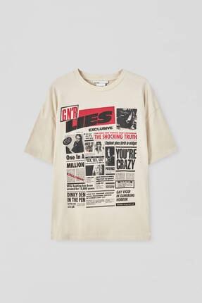 Pull & Bear Kadın Bej Guns N' Roses Gazete Görselli T-shirt 4