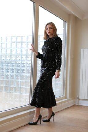 VENTİUP Siyah Uzun Volanlı Kadife Payet Elbise 3