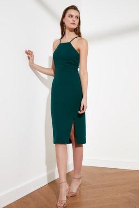 TRENDYOLMİLLA Zümrüt Yeşili Askılı Elbise TWOSS19BB0501 1