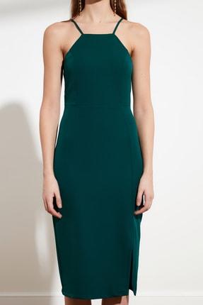 TRENDYOLMİLLA Zümrüt Yeşili Askılı Elbise TWOSS19BB0501 3