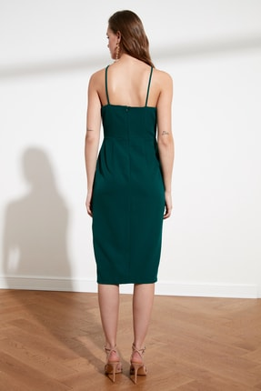 TRENDYOLMİLLA Zümrüt Yeşili Askılı Elbise TWOSS19BB0501 4