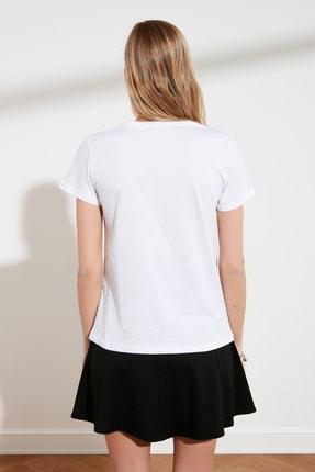 TRENDYOLMİLLA Beyaz Yıldız Baskılı Basic Örme T-Shirt TWOSS20TS0757 3