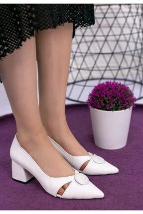 Erbilden Melvi Beyaz Cilt Topuklu Ayakkabı 2