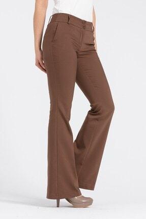 Jument Kadın Kahverengi Kalın Kemerli Cepli İspanyol Bol Paça Likralı Kumaş Pantolon 4