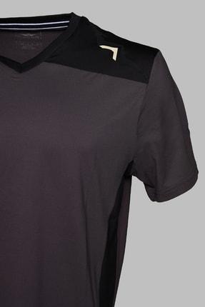 BESSA Garnili Interlok Nefes Alabilir Kumaş Fosfor Baskılı Antrasit Spor T-shirt 2